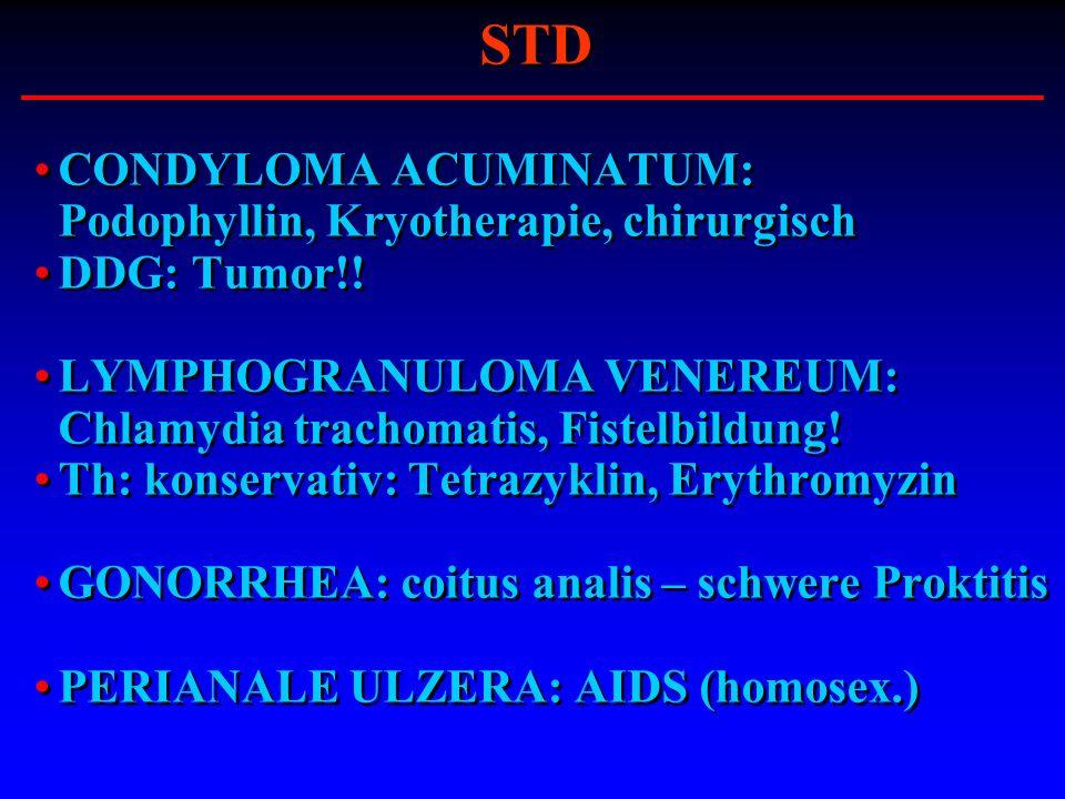 CONDYLOMA ACUMINATUM: Podophyllin, Kryotherapie, chirurgisch DDG: Tumor!! LYMPHOGRANULOMA VENEREUM: Chlamydia trachomatis, Fistelbildung! Th: konserva