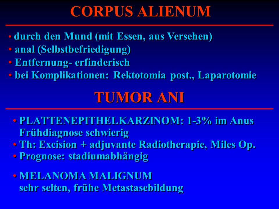 PLATTENEPITHELKARZINOM: 1-3% im Anus Frühdiagnose schwierig Th: Excision + adjuvante Radiotherapie, Miles Op. Prognose: stadiumabhängig MELANOMA MALIG