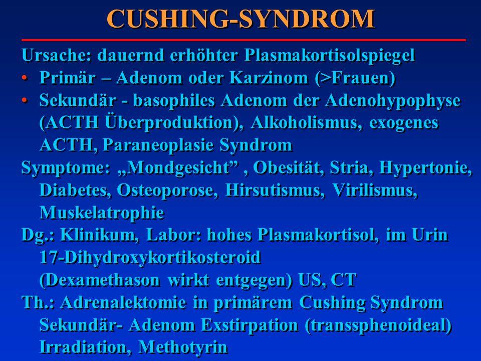 CUSHING-SYNDROM Ursache: dauernd erhöhter Plasmakortisolspiegel Primär – Adenom oder Karzinom (>Frauen) Sekundär - basophiles Adenom der Adenohypophyse (ACTH Überproduktion), Alkoholismus, exogenes ACTH, Paraneoplasie Syndrom Symptome: Mondgesicht, Obesität, Stria, Hypertonie, Diabetes, Osteoporose, Hirsutismus, Virilismus, Muskelatrophie Dg.: Klinikum, Labor: hohes Plasmakortisol, im Urin 17-Dihydroxykortikosteroid (Dexamethason wirkt entgegen) US, CT Th.: Adrenalektomie in primärem Cushing Syndrom Sekundär- Adenom Exstirpation (transsphenoideal) Irradiation, Methotyrin Ursache: dauernd erhöhter Plasmakortisolspiegel Primär – Adenom oder Karzinom (>Frauen) Sekundär - basophiles Adenom der Adenohypophyse (ACTH Überproduktion), Alkoholismus, exogenes ACTH, Paraneoplasie Syndrom Symptome: Mondgesicht, Obesität, Stria, Hypertonie, Diabetes, Osteoporose, Hirsutismus, Virilismus, Muskelatrophie Dg.: Klinikum, Labor: hohes Plasmakortisol, im Urin 17-Dihydroxykortikosteroid (Dexamethason wirkt entgegen) US, CT Th.: Adrenalektomie in primärem Cushing Syndrom Sekundär- Adenom Exstirpation (transsphenoideal) Irradiation, Methotyrin