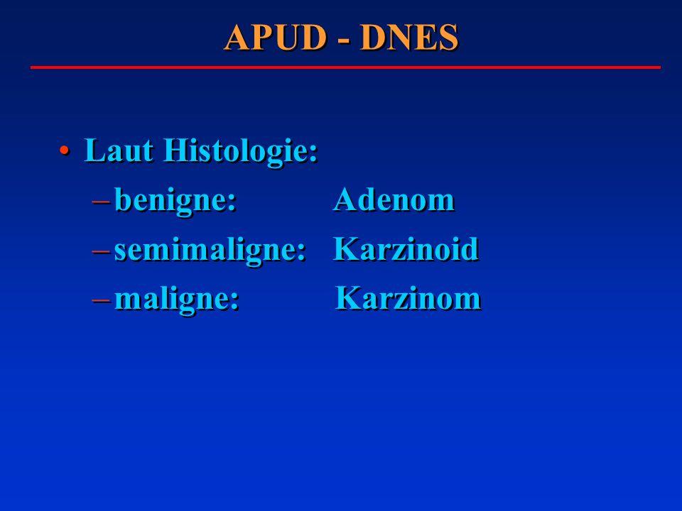 APUD - DNES Laut Histologie: –benigne: Adenom –semimaligne: Karzinoid –maligne: Karzinom Laut Histologie: –benigne: Adenom –semimaligne: Karzinoid –ma