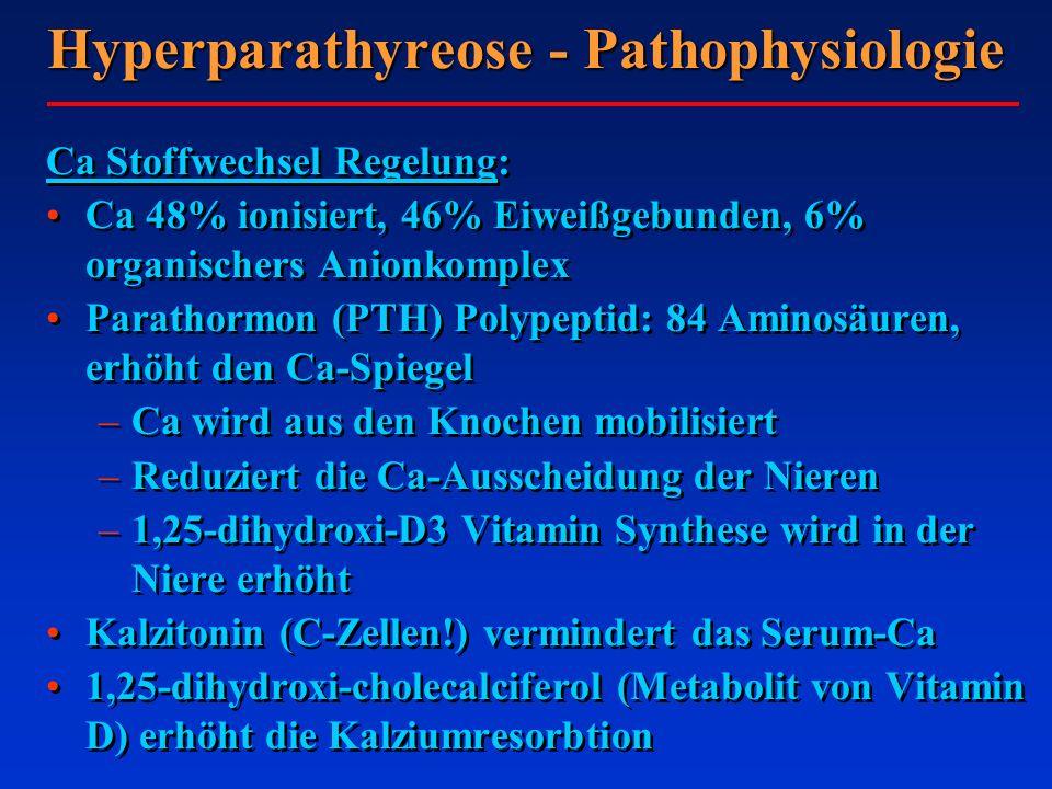 Hyperparathyreose - Pathophysiologie Ca Stoffwechsel Regelung: Ca 48% ionisiert, 46% Eiweißgebunden, 6% organischers Anionkomplex Parathormon (PTH) Po