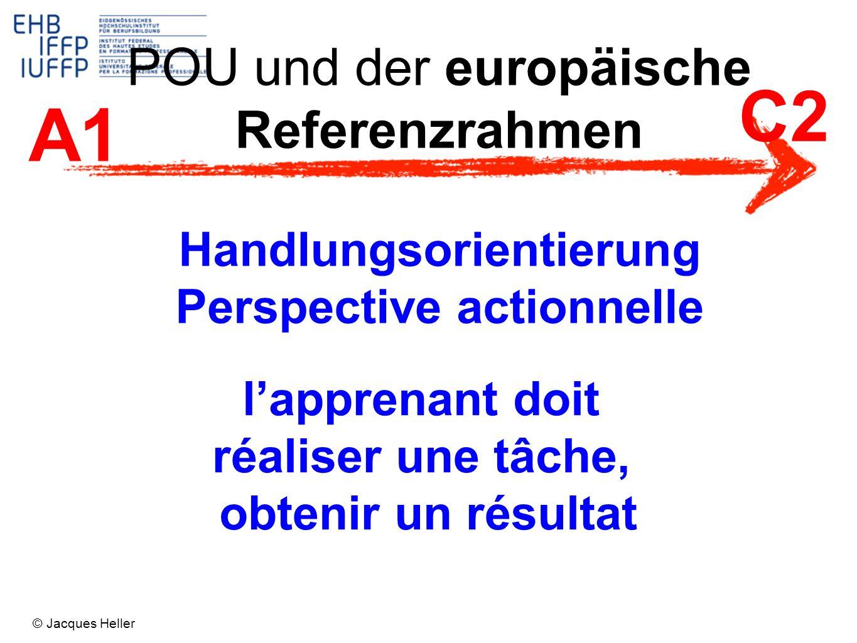 POU und der europäische Referenzrahmen A1 C2 Handlungsorientierung Perspective actionnelle lapprenant doit réaliser une tâche, obtenir un résultat © J