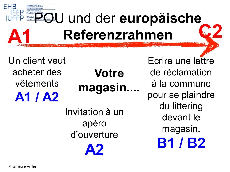 POU und der europäische Referenzrahmen Votre magasin.... Un client veut acheter des vêtements A1 / A2 Invitation à un apéro douverture A2 Ecrire une l