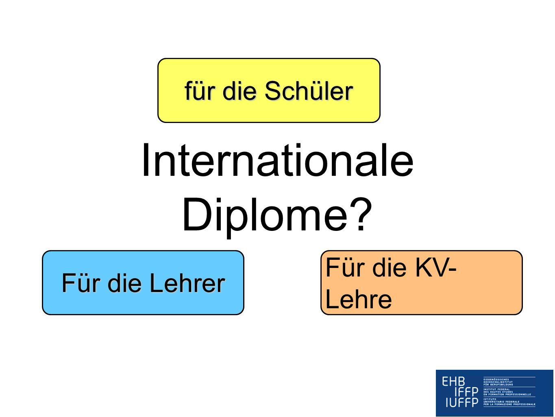 Internationale Diplome? für die Schüler Für die Lehrer Für die KV- Lehre