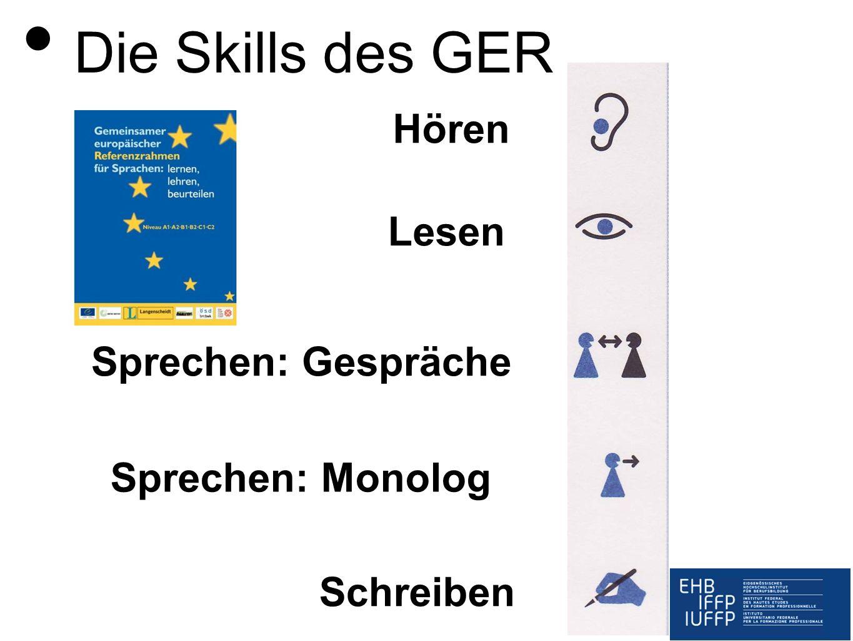 Hören Lesen Sprechen: Gespräche Sprechen: Monolog Schreiben Die Skills des GER
