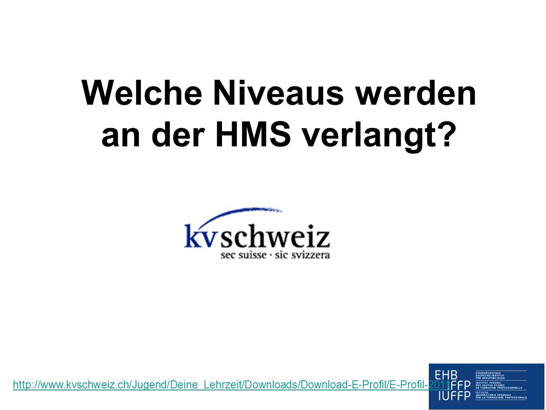 Welche Niveaus werden an der HMS verlangt? http://www.kvschweiz.ch/Jugend/Deine_Lehrzeit/Downloads/Download-E-Profil/E-Profil-2011