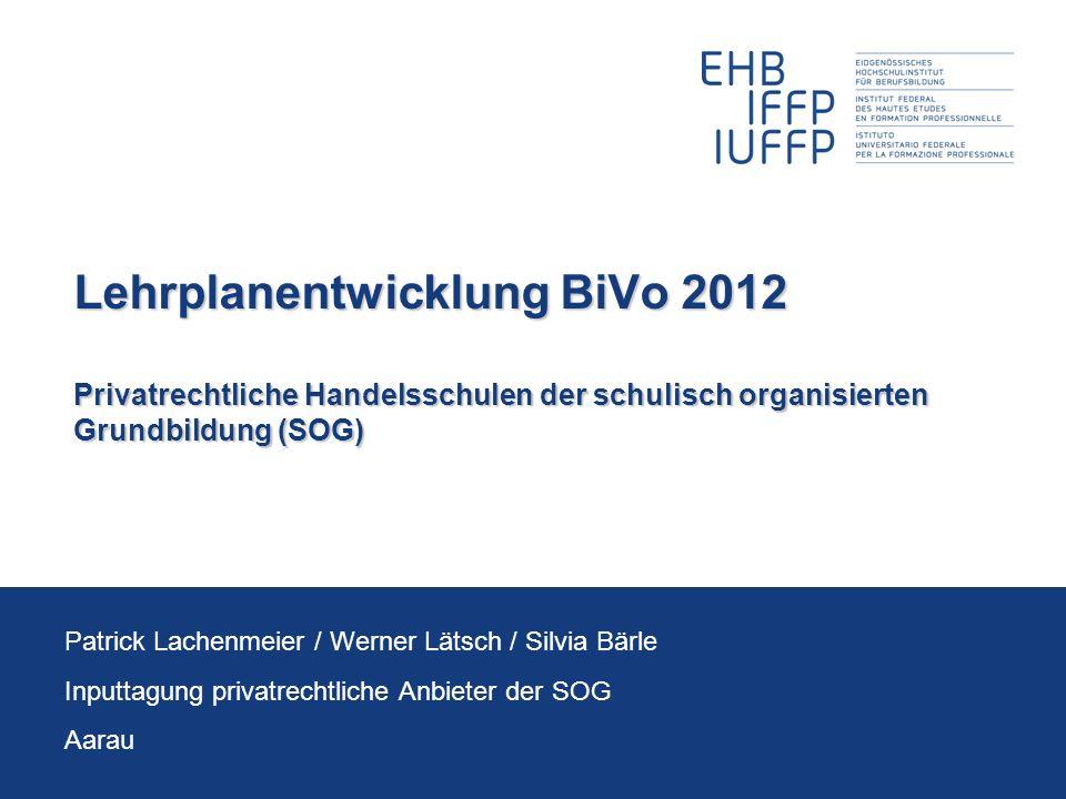 Lehrplanentwicklung BiVo 2012 Privatrechtliche Handelsschulen der schulisch organisierten Grundbildung (SOG) Patrick Lachenmeier / Werner Lätsch / Sil
