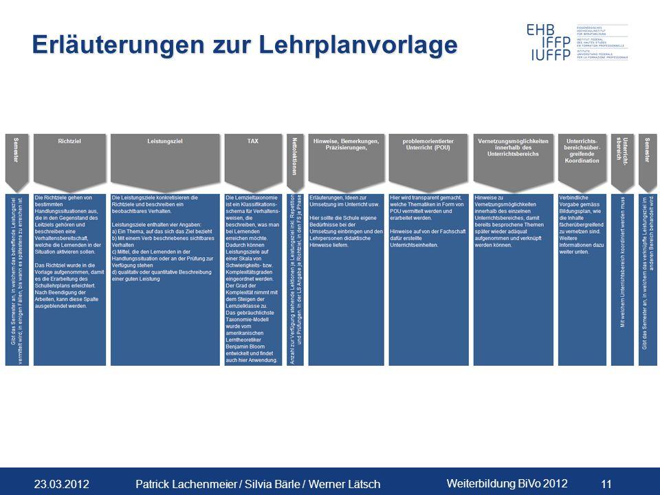 23.03.2012 Weiterbildung BiVo 2012 11 Patrick Lachenmeier / Silvia Bärle / Werner Lätsch Erläuterungen zur Lehrplanvorlage