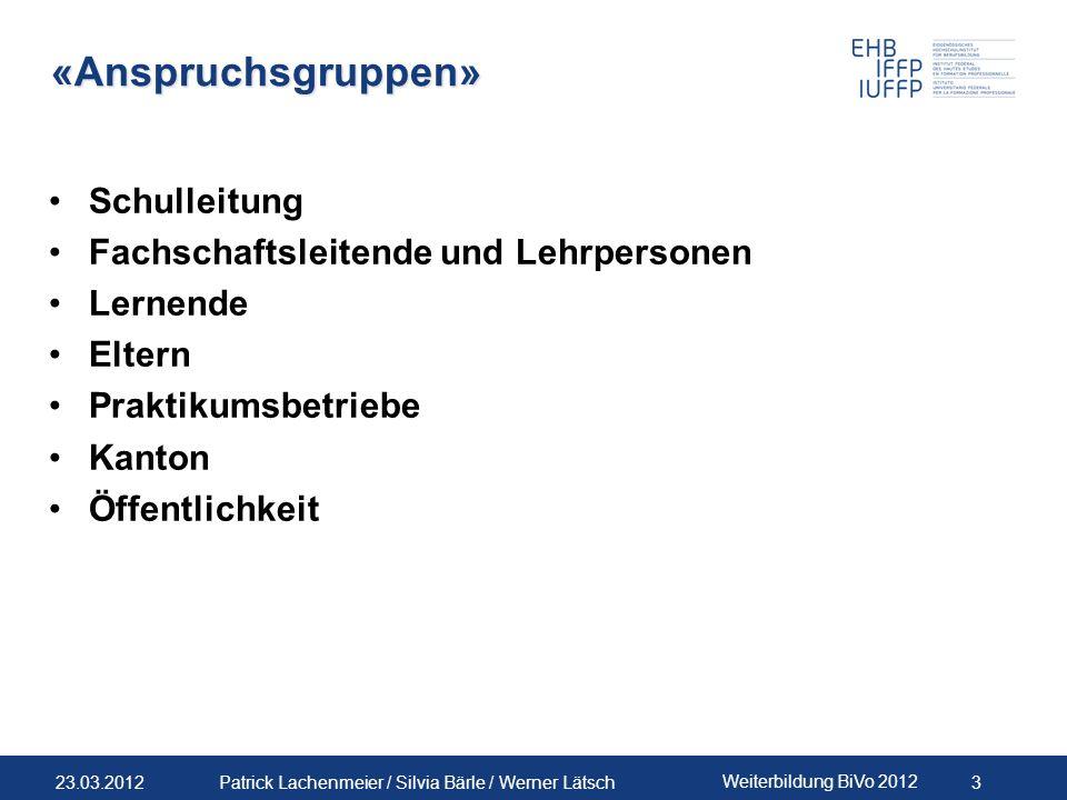 23.03.2012 Weiterbildung BiVo 2012 14 Patrick Lachenmeier / Silvia Bärle / Werner Lätsch Vorschlag Organisation im Modell 3-2-1 V&V / SAZeitpunktUmfang Verant- wortung Beteili- gung Form V&V Modul 1Ende 1.