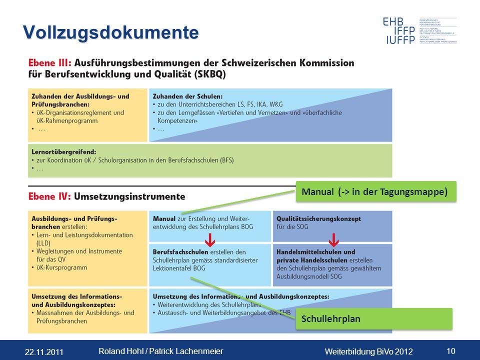 22.11.2011 Weiterbildung BiVo 2012 10 Roland Hohl / Patrick Lachenmeier Vollzugsdokumente Manual (-> in der Tagungsmappe) Schullehrplan