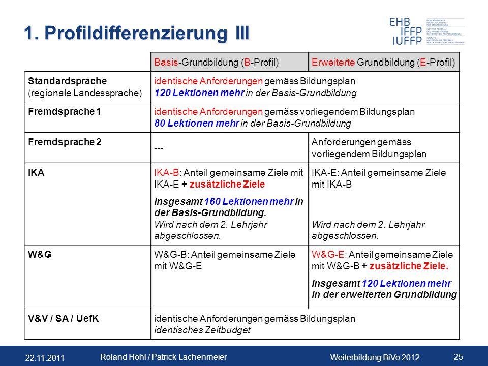 22.11.2011 Weiterbildung BiVo 2012 25 Roland Hohl / Patrick Lachenmeier 1. Profildifferenzierung III Basis-Grundbildung (B-Profil)Erweiterte Grundbild