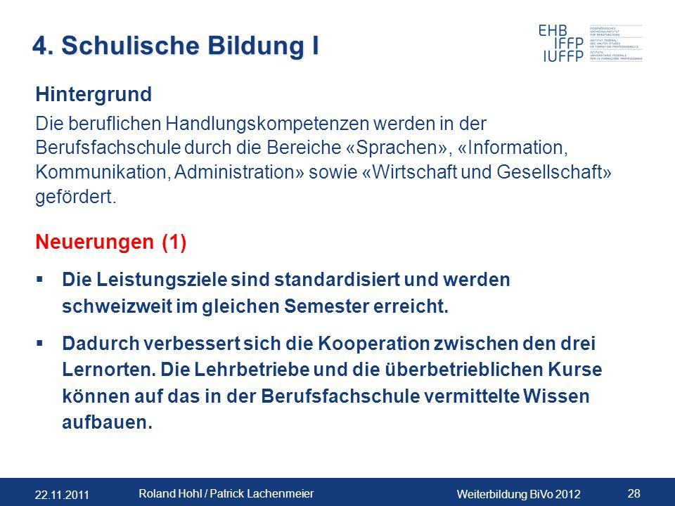 22.11.2011 Weiterbildung BiVo 2012 28 Roland Hohl / Patrick Lachenmeier 4. Schulische Bildung I Hintergrund Die beruflichen Handlungskompetenzen werde