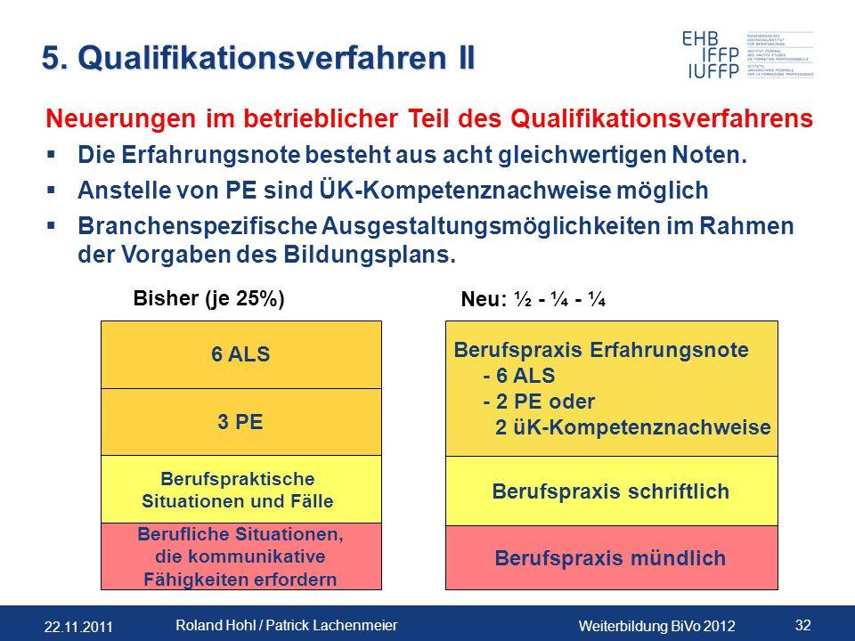 22.11.2011 Weiterbildung BiVo 2012 32 Roland Hohl / Patrick Lachenmeier 5. Qualifikationsverfahren II 6 ALS Bisher (je 25%) 3 PE Berufspraktische Situ