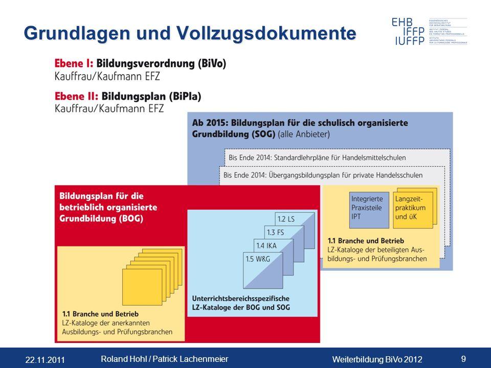 22.11.2011 Weiterbildung BiVo 2012 9 Roland Hohl / Patrick Lachenmeier Grundlagen und Vollzugsdokumente