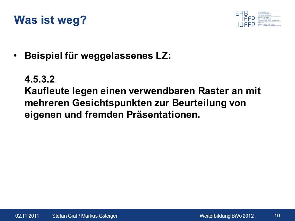 02.11.2011Weiterbildung BiVo 2012 10 Stefan Graf / Markus Gsteiger Was ist weg? Beispiel für weggelassenes LZ: 4.5.3.2 Kaufleute legen einen verwendba