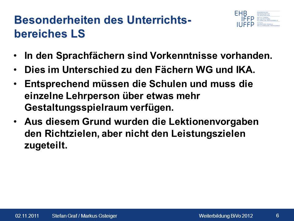 02.11.2011Weiterbildung BiVo 2012 6 Stefan Graf / Markus Gsteiger Besonderheiten des Unterrichts- bereiches LS In den Sprachfächern sind Vorkenntnisse