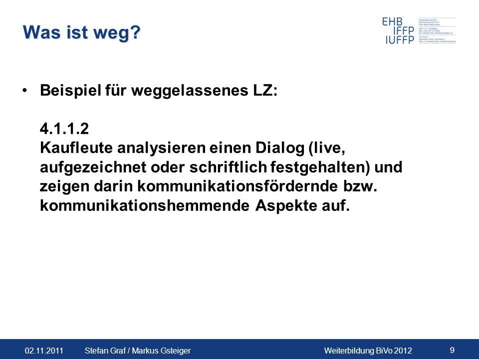 02.11.2011Weiterbildung BiVo 2012 9 Stefan Graf / Markus Gsteiger Was ist weg? Beispiel für weggelassenes LZ: 4.1.1.2 Kaufleute analysieren einen Dial