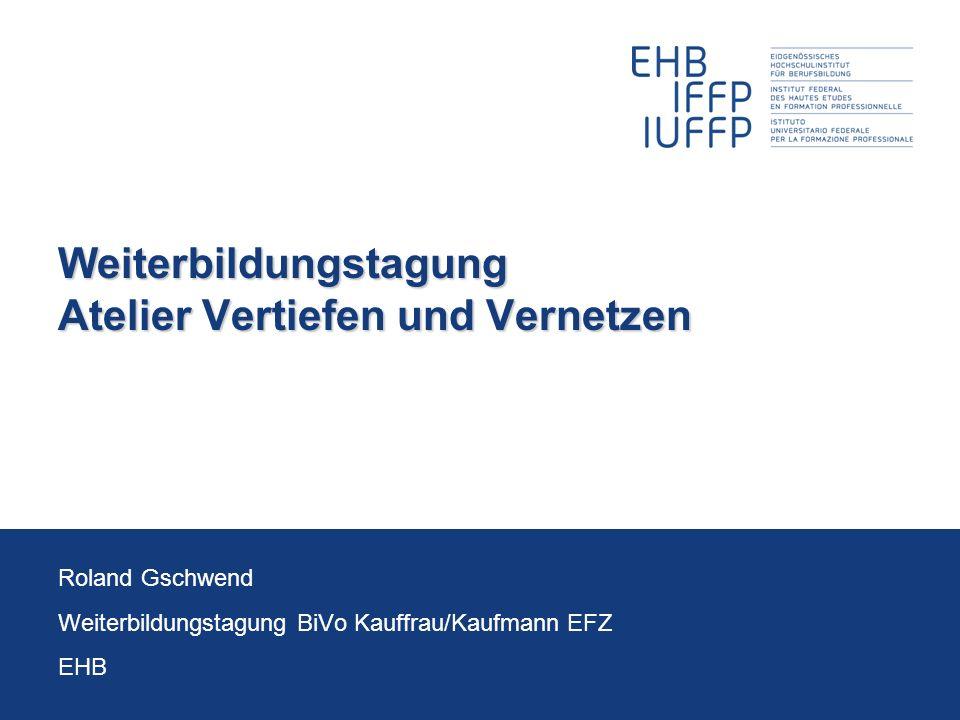 22.06.2012Weiterbildung BiVo 2012 2 Roland Gschwend V&V im Überblick V&V löst die bisherigen AEs ab Die Verantwortung wird den Unterrichtsbereichen W&G und IKA, ergänzt durch die Standardsprache, übertragen 3 V&V-Module (über die ganze Ausbildung) ca.
