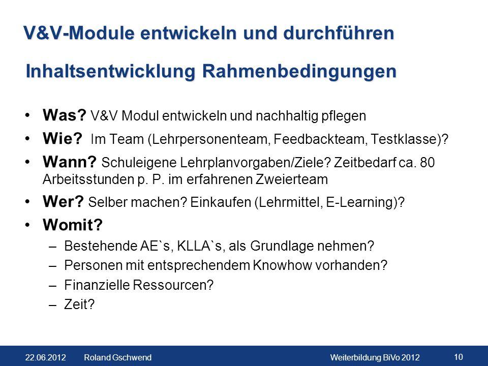 22.06.2012Weiterbildung BiVo 2012 10 Roland Gschwend V&V-Module entwickeln und durchführen Was? V&V Modul entwickeln und nachhaltig pflegen Wie? Im Te
