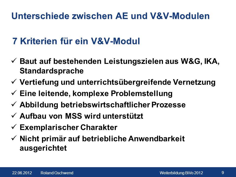 22.06.2012Weiterbildung BiVo 2012 9 Roland Gschwend Unterschiede zwischen AE und V&V-Modulen Baut auf bestehenden Leistungszielen aus W&G, IKA, Standa