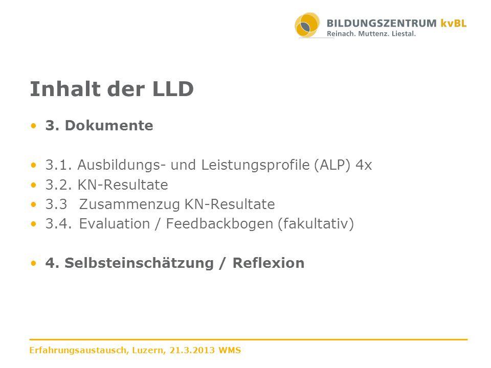 Inhalt der LLD 3. Dokumente 3.1. Ausbildungs- und Leistungsprofile (ALP) 4x 3.2. KN-Resultate 3.3Zusammenzug KN-Resultate 3.4.Evaluation / Feedbackbog