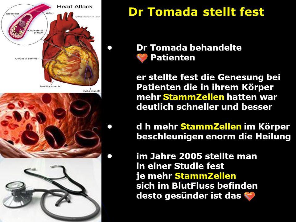 Dr Tomada behandelte Patienten er stellte fest die Genesung bei Patienten die in ihrem Körper mehr StammZellen hatten war deutlich schneller und besserd h mehr StammZellen im Körper beschleunigen enorm die Heilungim Jahre 2005 stellte man in einer Studie fest je mehr StammZellen sich im BlutFluss befinden desto gesünder ist das Dr Tomada stellt fest