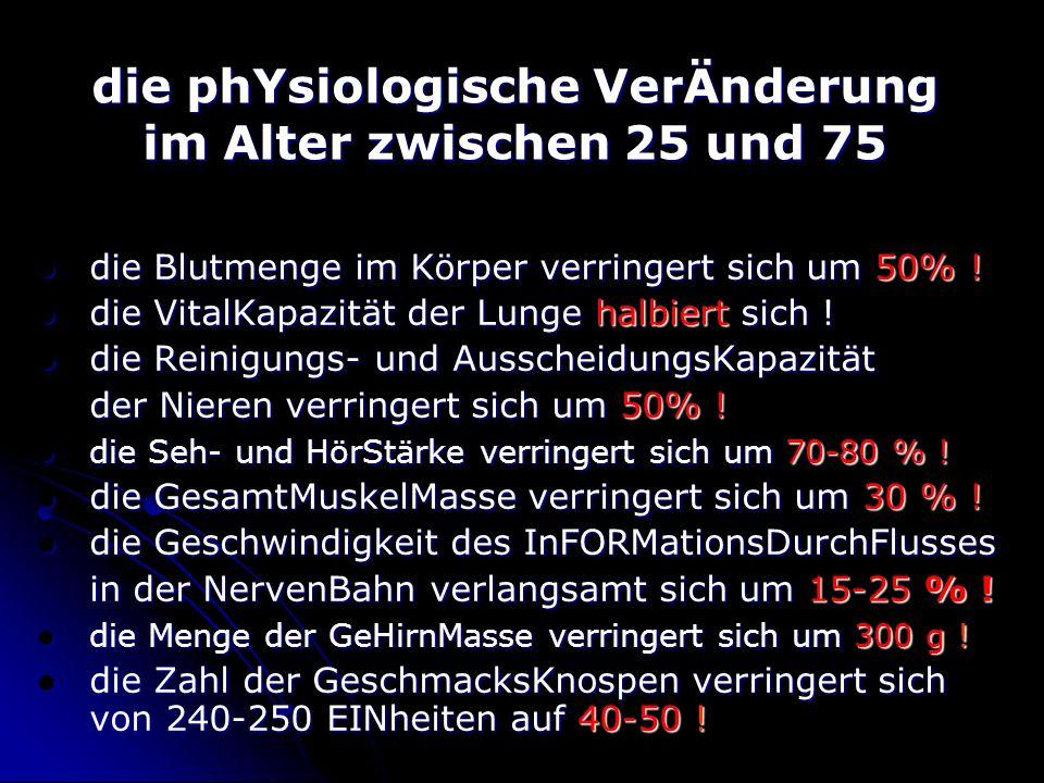die phYsiologische VerÄnderung im Alter zwischen 25 und 75 die Blutmenge im Körper verringert sich um 50% .