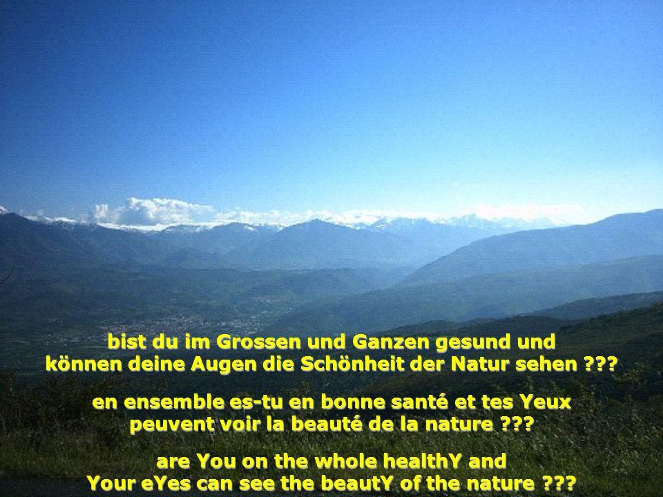 bist du im Grossen und Ganzen gesund und können deine Augen die Schönheit der Natur sehen ??? en ensemble es-tu en bonne santé et tes Yeux peuvent voi