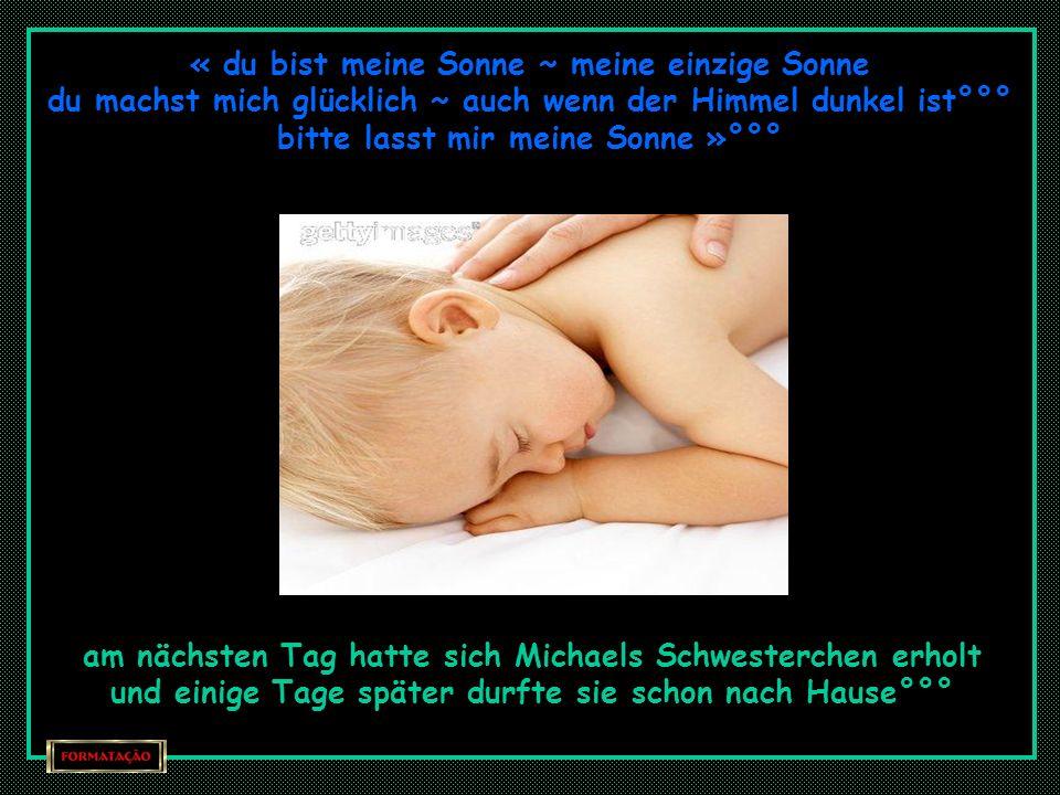 « sing weiter Michael » !!! bat ihn Karen ergriffen « in einer anderen Nacht träumte ich dass du bei mir bist meine Sonne » das BabY « singe noch ein