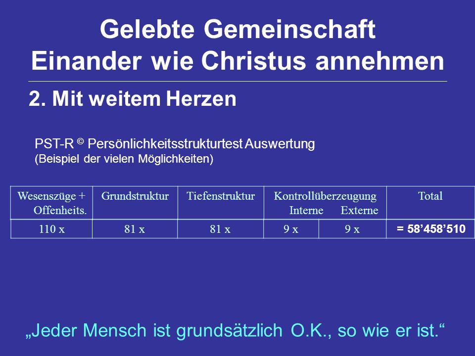 Gelebte Gemeinschaft Einander wie Christus annehmen PST-R © Persönlichkeitsstrukturtest Auswertung (Beispiel der vielen Möglichkeiten) Wesenszüge + Of