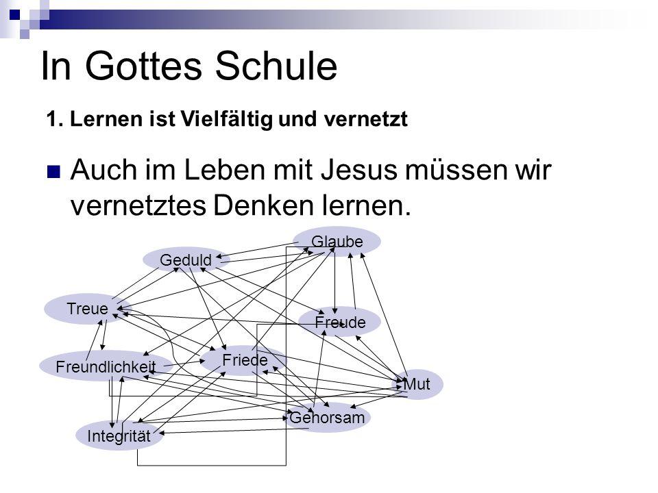 In Gottes Schule Auch im Leben mit Jesus müssen wir vernetztes Denken lernen. 1. Lernen ist Vielfältig und vernetzt Glaube Geduld Freundlichkeit Integ