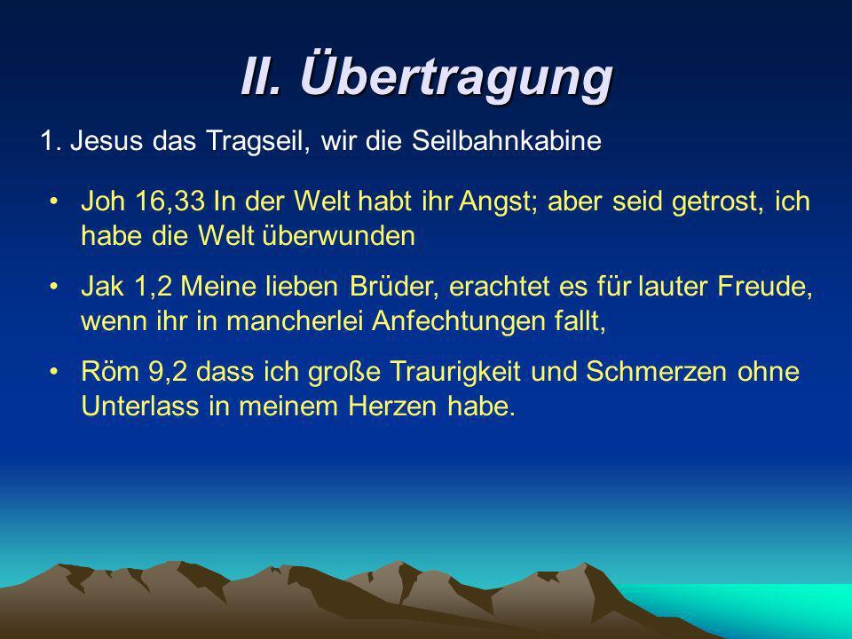 II. Übertragung 1. Jesus das Tragseil, wir die Seilbahnkabine Joh 16,33 In der Welt habt ihr Angst; aber seid getrost, ich habe die Welt überwunden Ja