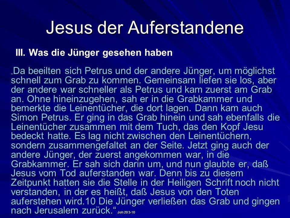Jesus der Auferstandene Da beeilten sich Petrus und der andere Jünger, um möglichst schnell zum Grab zu kommen. Gemeinsam liefen sie los, aber der and