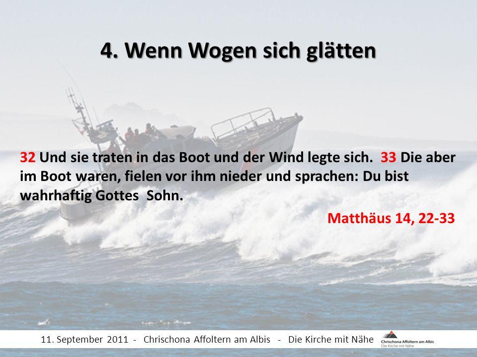 32 Und sie traten in das Boot und der Wind legte sich. 33 Die aber im Boot waren, fielen vor ihm nieder und sprachen: Du bist wahrhaftig Gottes Sohn.