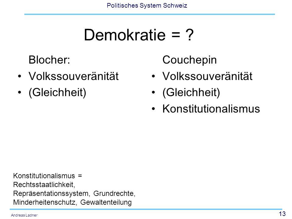 13 Politisches System Schweiz Andreas Ladner Demokratie = ? Blocher: Volkssouveränität (Gleichheit) Couchepin Volkssouveränität (Gleichheit) Konstitut
