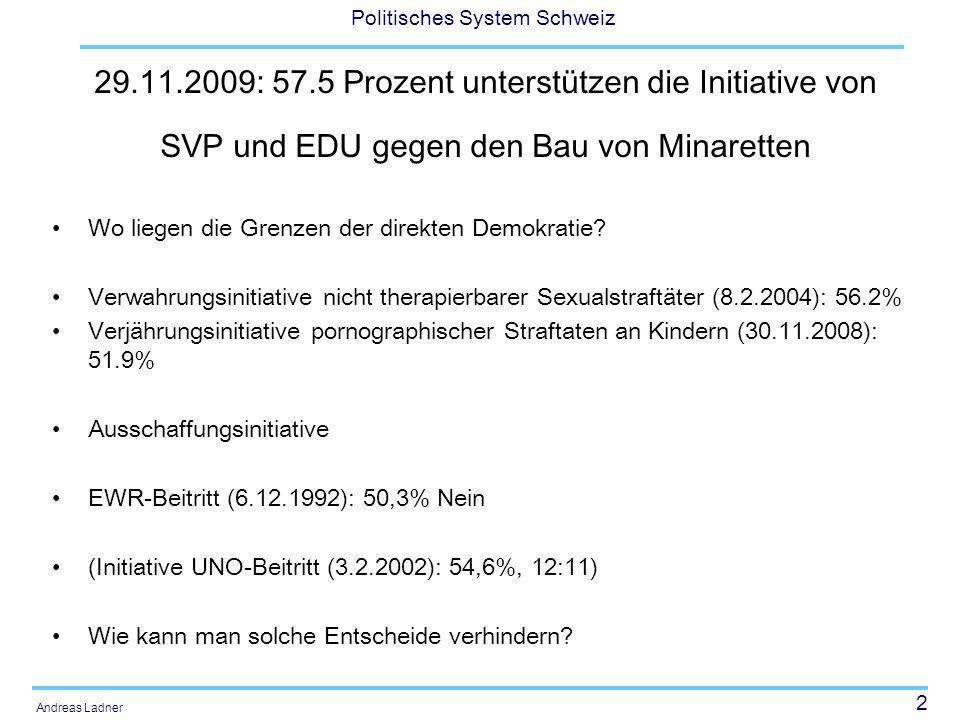 2 Politisches System Schweiz Andreas Ladner 29.11.2009: 57.5 Prozent unterstützen die Initiative von SVP und EDU gegen den Bau von Minaretten Wo liege