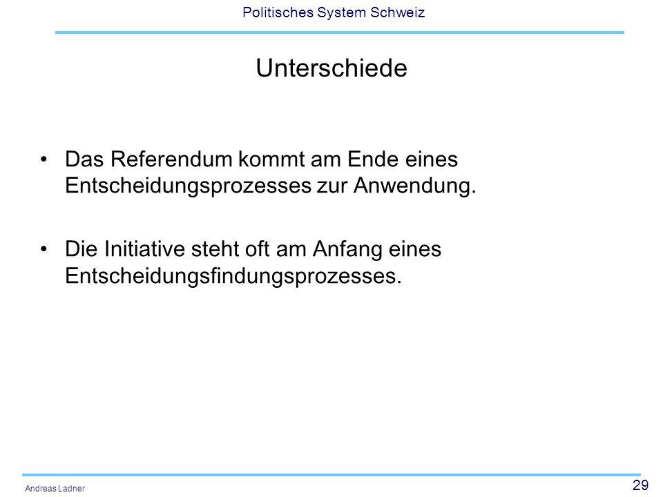 29 Politisches System Schweiz Andreas Ladner Unterschiede Das Referendum kommt am Ende eines Entscheidungsprozesses zur Anwendung. Die Initiative steh