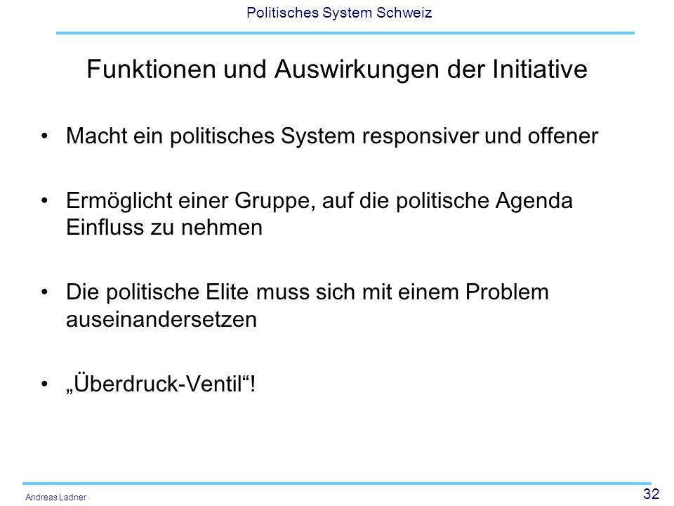 32 Politisches System Schweiz Andreas Ladner Funktionen und Auswirkungen der Initiative Macht ein politisches System responsiver und offener Ermöglich