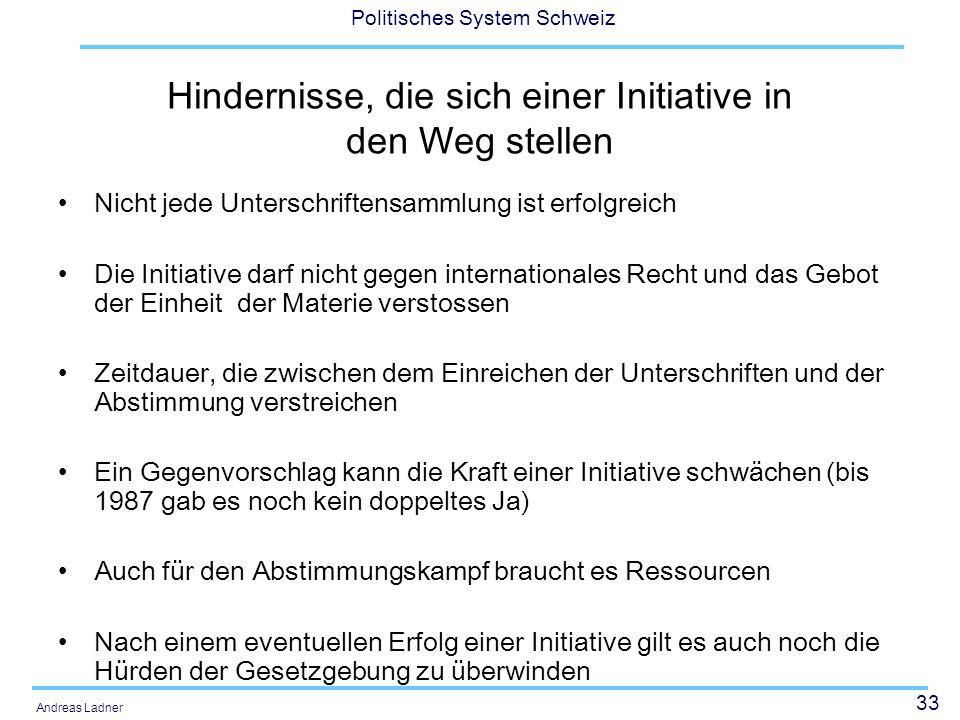 33 Politisches System Schweiz Andreas Ladner Hindernisse, die sich einer Initiative in den Weg stellen Nicht jede Unterschriftensammlung ist erfolgrei