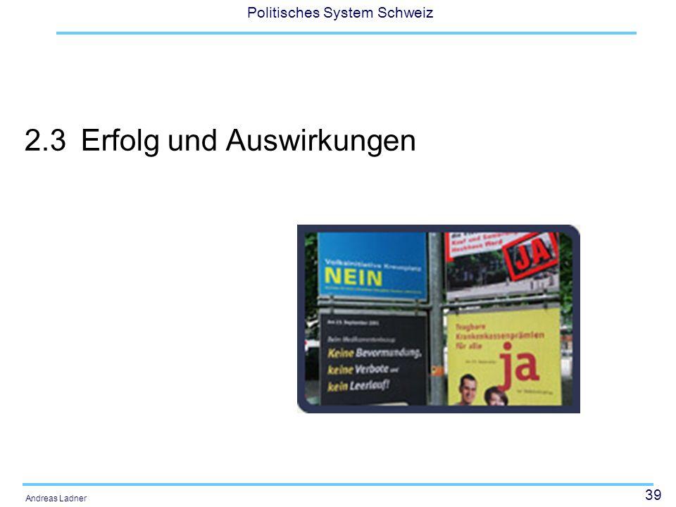 39 Politisches System Schweiz Andreas Ladner 2.3Erfolg und Auswirkungen