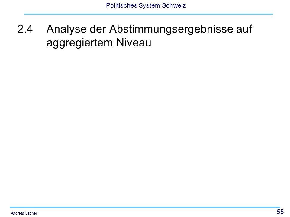 55 Politisches System Schweiz Andreas Ladner 2.4Analyse der Abstimmungsergebnisse auf aggregiertem Niveau