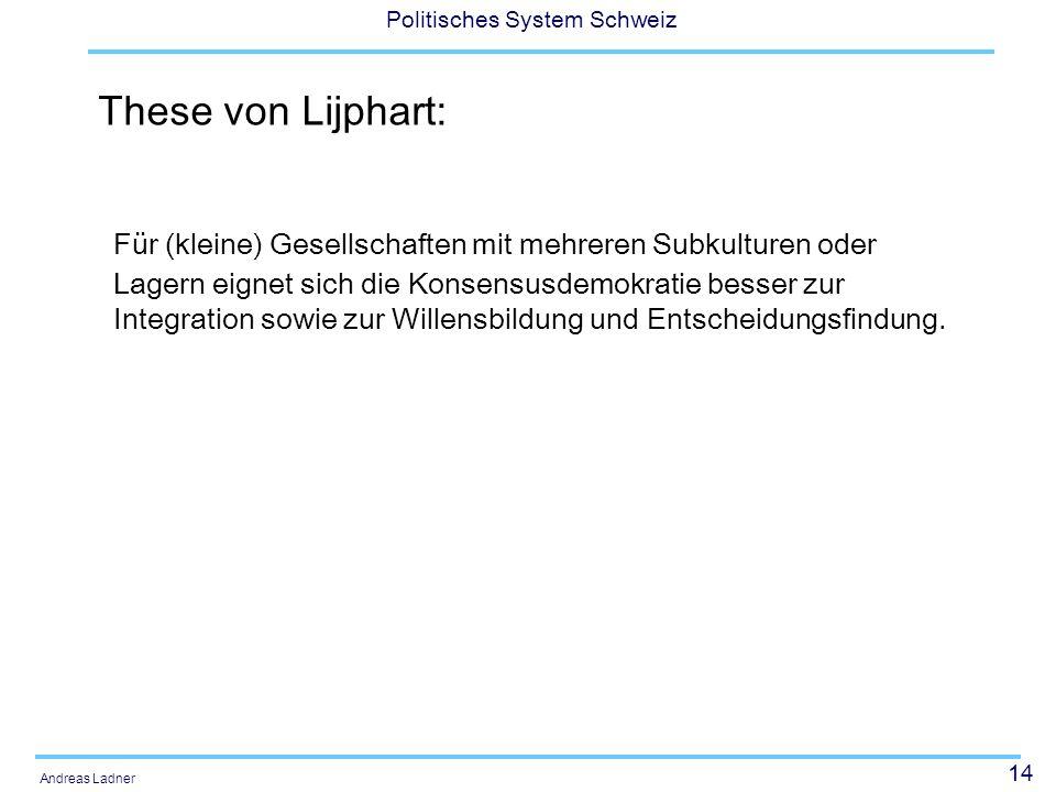 14 Politisches System Schweiz Andreas Ladner These von Lijphart: Für (kleine) Gesellschaften mit mehreren Subkulturen oder Lagern eignet sich die Kons