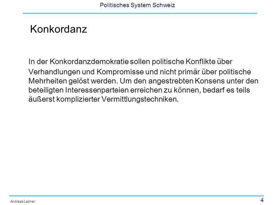 5 Politisches System Schweiz Andreas Ladner Konkordanz -> Power sharing Föderalismus (zwischen den territorialen Einheiten) Konkordanz (zwischen den Parteien) Direkte Demokratie (zwischen den Bürgerinnen und den politischen Entscheidungsgremien)