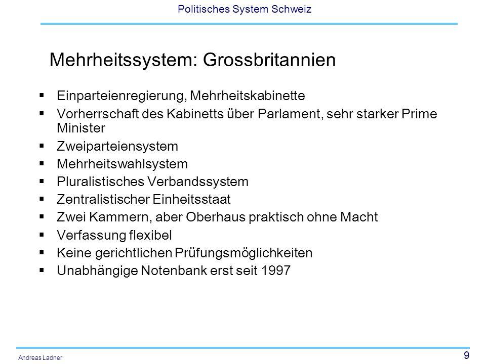 9 Politisches System Schweiz Andreas Ladner Mehrheitssystem: Grossbritannien Einparteienregierung, Mehrheitskabinette Vorherrschaft des Kabinetts über