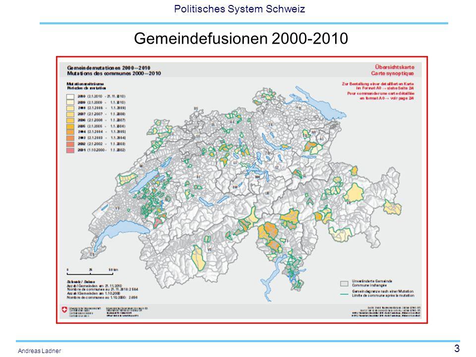 24 Politisches System Schweiz Andreas Ladner Autonomie der Gemeinden (gemäss Gemeindeschreiber, 1994 und 2009, Mittelwerte) 1 = überhaupt keine Autonomie; 10 = sehr grosse Autonomie