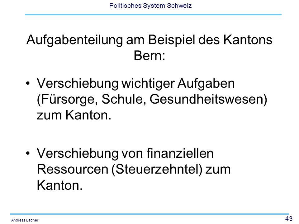 43 Politisches System Schweiz Andreas Ladner Aufgabenteilung am Beispiel des Kantons Bern: Verschiebung wichtiger Aufgaben (Fürsorge, Schule, Gesundhe