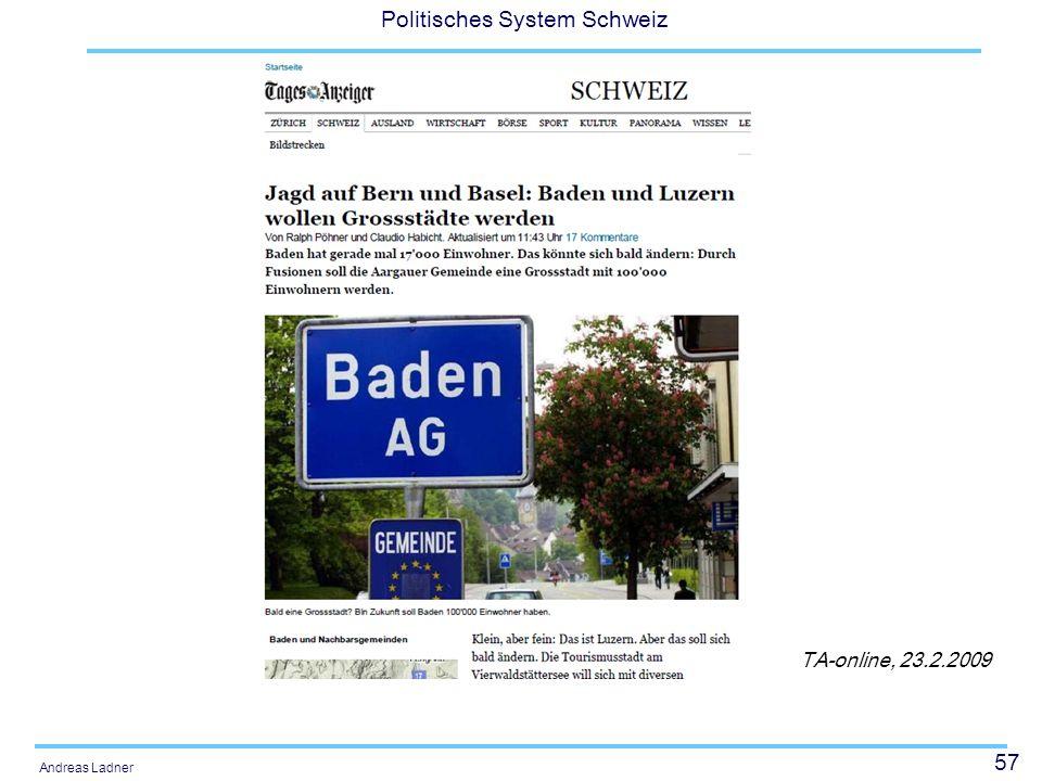 57 Politisches System Schweiz Andreas Ladner TA-online, 23.2.2009