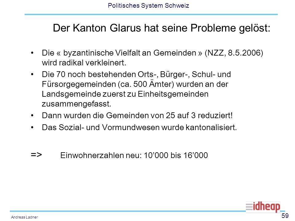 59 Politisches System Schweiz Andreas Ladner Der Kanton Glarus hat seine Probleme gelöst: Die « byzantinische Vielfalt an Gemeinden » (NZZ, 8.5.2006)