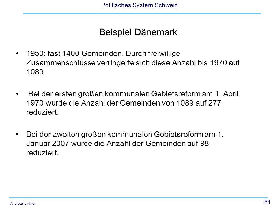 61 Politisches System Schweiz Andreas Ladner Beispiel Dänemark 1950: fast 1400 Gemeinden. Durch freiwillige Zusammenschlüsse verringerte sich diese An
