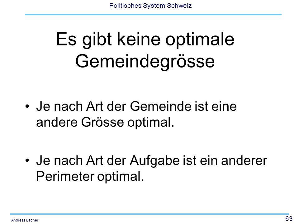 63 Politisches System Schweiz Andreas Ladner Es gibt keine optimale Gemeindegrösse Je nach Art der Gemeinde ist eine andere Grösse optimal. Je nach Ar